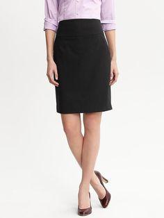 Banana Republic Black lightweight wool pencil skirt