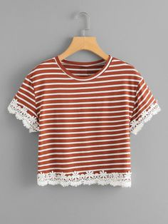 Casual Colorblock and Contrast Lace Regular Fit Round Neck Short Sleeve Brown Regular Length Contrast Floral Lace Trim T-shirt Cute Summer Outfits, Pretty Outfits, Cool Outfits, Fashion Outfits, T Shirt Crop Top, Frocks For Girls, Teen Girl Outfits, Simple Dresses, Diy Clothes
