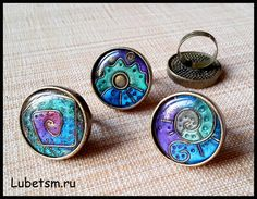 Polymer clay faux enamel rings by Lubets.