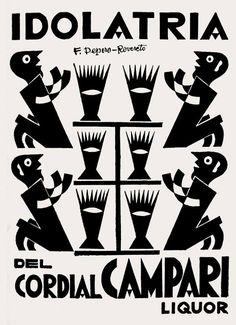 Vintage Poster - IDOLATRIA DEL CORDIAL CAMPARI - Fortunato Depero - 1927 - 20's…