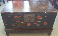 Chinese Painted Trunk made from Poplar - Early 1800's, from Shan Xi, Booth 417, $580.00.  (Booth 417 is Having a 20% off SALE)  Come Take a LOOK!