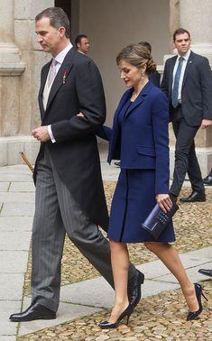 King Felipe VI of Spain and Queen Letizia of Spain attend the Miguel de Cervantes 2015 award ceremony at Alcala de Henares University on April 23, 2016 in Alcala de Henares, Spain.