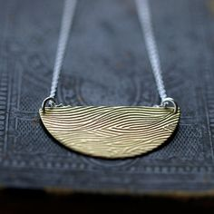 Half Moon Waves Necklace Faux Bois Brass by ShopClementine on Etsy, $39.00