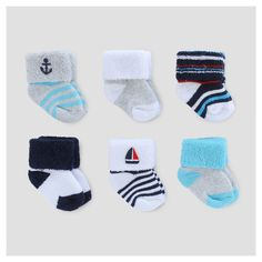 Baby Boys' 6pk Terry Cuff Socks - Just One You Made by Carter's Blue/Grey/White 0-3M, Size: 0-3 M