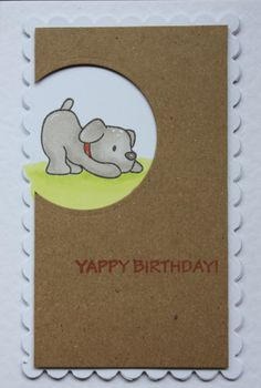 This card was made using the Mama Elephant 'Playful Pups' stamp set.  Inspired by Lydia's article in August (2015) edition of Craft Stamper.  The Kraft card gives a different look along with the part cut circle.