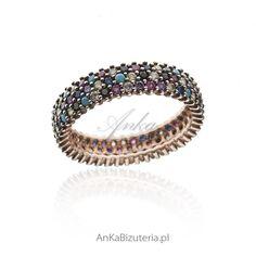 Pierścionek srebrny pozłacany z turkusem i kolorowymi cyrkoniami Najmodniejsza biżuteria sezonu Polecam!