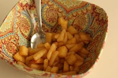 Apple Jacks - lightly steamed apples dusted with cinnamon.  Perfect for new little eaters!
