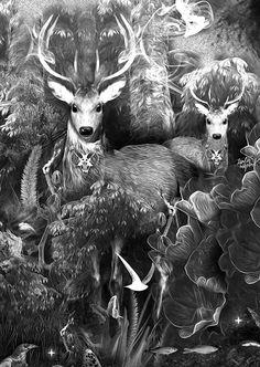 FANTASMAGORIK® DARK FOREST on Behance Animal Attack, Gcse Art, Dark Forest, Cool Art, Awesome Art, Creative Art, Sculptures, Digital Art, Behance