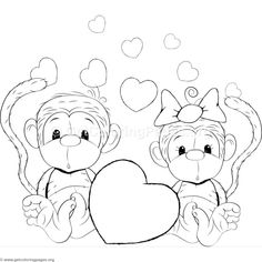 Cartoon animal romantic couple in love cute monkey coloring web page, The Most Famous Antagonists that Did Valentines Day Drawings in Movies Valentines day shoppi, Monkey Coloring Pages, Valentine Coloring Pages, Cute Coloring Pages, Colouring Pics, Coloring Pages To Print, Adult Coloring Pages, Coloring Books, Free Coloring, Monkey Drawing Cute
