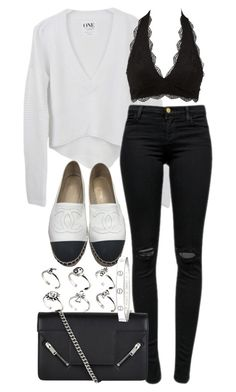 """""""Untitled #3536"""" by plainly-marie ❤ liked on Polyvore featuring J Brand, Charlotte Russe, Chanel, Yves Saint Laurent, ASOS and Cartier"""