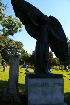 Oakland Cemetery's Black Angel - Iowa City, Iowa