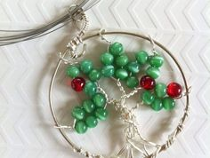 Green and red tree of life pendant Red Tree, Tree Of Life Pendant, Red Glass, Silver Plate, Glass Beads, Wreaths, Drop Earrings, Jewellery, Green