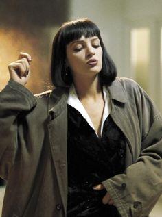 Uma Thurman in Pulp Fiction, when she wore Vincent Vegas oversized coat #SALSITinspo #fashionfilm