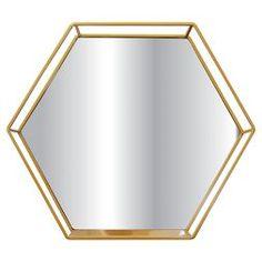 Hexagon Mirror With Shelf Brass - Project 62 Brass Mirror, Brass Metal, Gold Shelves, Wall Mirror With Shelf, Locker Decorations, Home Decor Bedroom, Bedroom Ideas