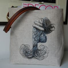 Linen Tote Bag/Natural/Hand Painted/Mermaid Design/Leather Shoulder Strap/Brass Hardware/Canvas Interior/Artist Signed/Women/Accessories $68 amazing