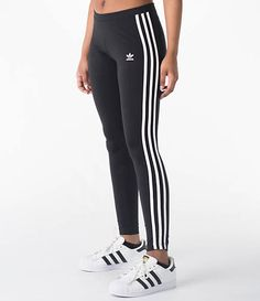 Front Three Quarter view of Women s adidas Originals 3-Stripes Leggings in  Black White cd4a4a31e05