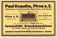Original-Werbung/ Anzeige 1915 - DRESCHMASCHINEN KNAUTHE / PIRNA - ca. 155 x 100 mm