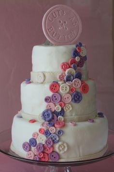 cute as a button #cake #pink #purple #girl