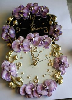Items similar to Wall clock Orchids Unique wall clocks Wall decor Interior item Home decor Lilac purple orchids Handmade gift Lilac clock Handmade clock on Etsy Rustic Wall Clocks, Unique Wall Clocks, Handmade Clocks, Handmade Gifts, Clock Flower, Floral Clock, Plaster Art, Plaster Crafts, Clay Wall Art