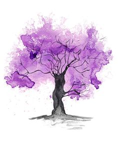Fine Art Print of my Abstract Watercolour Tree by PurplePebbleArt