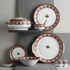 Karina Gold Dinnerware collection by Clay Craft India, Jaipur Dinner Sets, Clay Crafts, Jaipur, Bone China, Dinnerware, Decorative Plates, India, Ceramics, Living Room