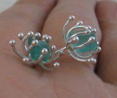 Rough apatite sea anemone stud earrings raw gemstone