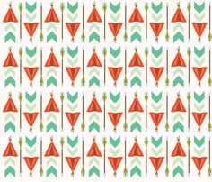 The Teepees fabric by oliveandruby on Spoonflower - custom fabric