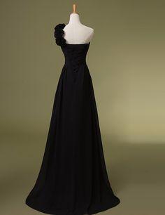 Elegant One Shoulder Flowers Sweetheart Chiffon Long Bridesmaid Dress