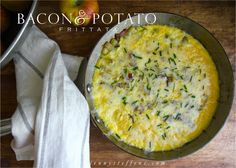 Bacon & Potato Frittata with White Cheddar & Chive -  Easy!