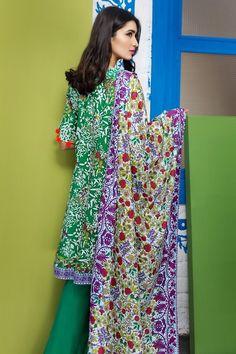 Khaadi 3 Piece Stitched Printed Lawn Suit - A17207-A - GREEN - libasco.com    #khaadi #khaadionline #khadiclothes #khaadi2017 #kaadisummer