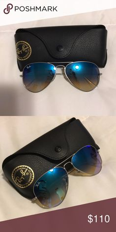 Ray Ban Aviator Sunglasses Ray Bans silver and blue   Never used, original case Ray-Ban Accessories Sunglasses