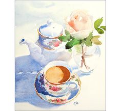 Coffee and Rose Watercolor Original Painting by CMwatercolors
