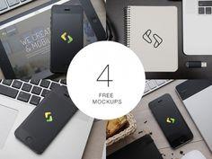 4 free PSD Apple mockups