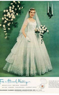 1957 Colorado Flower Growers Bride Wedding Gown and Bouquet Vintage Ad 1960s Wedding, Vintage Wedding Photos, Vintage Bridal, Wedding Pics, Wedding Bride, Wedding Styles, Wedding Gowns, Designer Wedding Dresses, Beautiful Bride