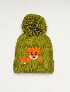 Knit Kids Pom Pom Hat with FOX, Girls Boys Winter Hat, Green Orange, Cute Children Fall Winter Accessory, Kids Fashion,  Ready to ship on Etsy, £22.30