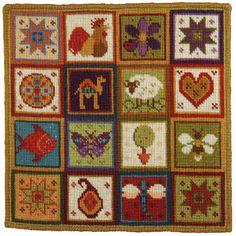 Animal Fayre Needlepoint Cushions Kit - Little Patchwork, Needlepoint Kits, Needlepoint Designs, Needlepoint Pillows, Needlepoint Kits, Victorian Cross Stitch, Cute Cushions, Animal Cushions, Cross Stitch Cushion, Elephant Tapestry, Tapestry Kits