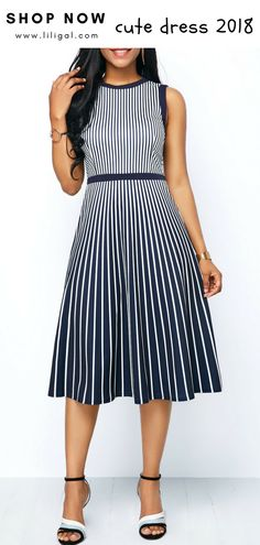d1418e0558b0 USD36.32 Striped Gradient High Waist A Line Dress  liligal  dresses Club  Party