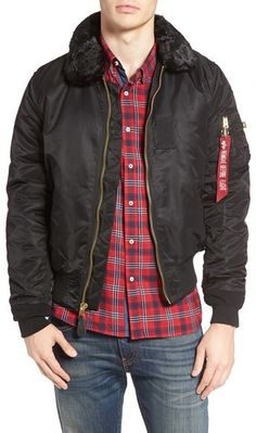 ALPHA INDUSTRIES B-15 Removable Faux Fur Collar Flight Jacket ...