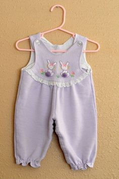 Vintage White Purple Striped Easter Bunny Rabbit Overalls Girls Bunnies 2T (?) in Clothing, Shoes & Accessories, Clothing, Shoes & Accessories | eBay