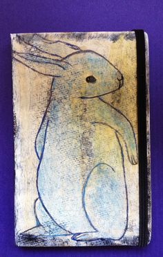 Bunny - Painted on cover of Moleskine Journal Artist Robin Panzer  ~cant wait to see it in person!  love it!~