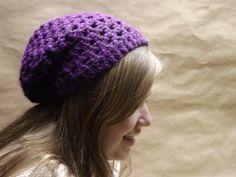 Hand Crocheted Slouchy Hat In Dark Purple Womens by WillowPrairie, $20.00