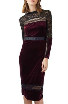 Topshop Velvet & Lace Midi Dress THIS IS PERFECT (but will be very dark for photoshoot) good for personal dress up!