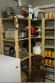Little Red Hen: An organized basement.this looks a little more realistic for us. Laundry Room Storage, Storage Room, Storage Organization, Organizing Ideas, Storage Ideas, Wood Shelves, Shelving, Closet Designs, Kitchen Cart