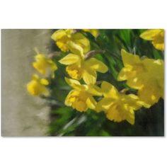 Trademark Fine Art Daffodils Peeking Canvas Art by Lois Bryan, Size: 12 x 19, Multicolor