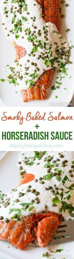 Amazing 10-Ingredient Smoky Baked Salmon Recipe with Creamy Horseradish Sauce on ASpicyPerspective.com #holiday