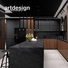 Looking for similar color/material contrast in the kitchen. black, wood, and white Kitchen Room Design, Luxury Kitchen Design, Best Kitchen Designs, Kitchen Cabinet Design, Home Decor Kitchen, Interior Design Kitchen, Black Interior Design, Black Kitchens, Luxury Kitchens