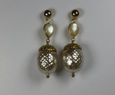 Vintage Pearl Acorn Earrings . Mother of Pearl teardrops .. Perfect Autumn Jewelry  .. Great Gift .. One of a kind.. Free Shipping Worldwide by TessHarrissDesigns on Etsy