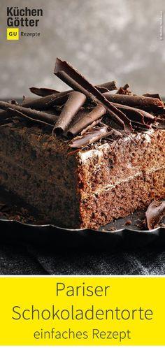 Simple recipe for Parisian chocolate cake. Simple recipe for Parisian chocolate cake. Patisserie Paris, Patisserie Design, Patisserie Cake, Best Chocolate Chip Cookies Recipe, Chocolate Cake, Chefs, Cinnamon Muffins, Cute Desserts, Vegan Cake