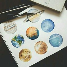 art, planet, and drawing