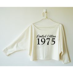 Limited Edition 1975 Shirt Birthday Gift Shirt Funny Idea Shirt Women... ($16) ❤ liked on Polyvore featuring tops, hoodies, sweatshirts, grey, women's clothing, gray sweatshirt, gray off the shoulder sweatshirt, off-the-shoulder sweatshirt, checkered shirt and gray shirt
